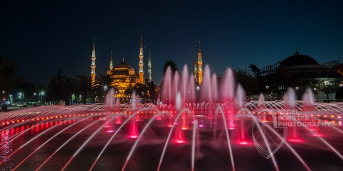Aya Sofia at Night, Istanbul, Turkey. An example of Landscape, Architecture, Travel and Tourism Photography, using dramatic lighting and striking composition by Nigel Forster ABIPP. Commission Nigel Forster ABIPP to capture your business, event, attraction or location with dramatic use of light and striking composition.