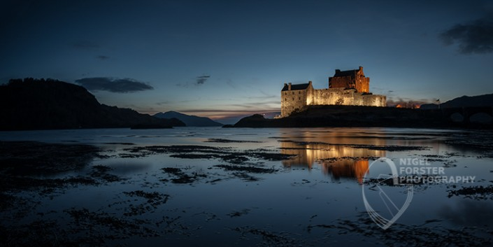 Eilean Donan Castle, Scotland. An example of Landscape, Architecture, Travel and Tourism Photography, using dramatic lighting and striking composition by Nigel Forster ABIPP. Commission Nigel Forster ABIPP to capture your business, event, attraction or location with dramatic use of light and striking composition.