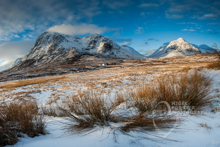 Stob Dearg Winter View, Buachaille Etive Mor, Glencoe, Scotland, UK. An example of Landscape, Architecture, Travel and Tourism Photography, using dramatic lighting and striking composition by Nigel Forster ABIPP. Commission Nigel Forster ABIPP to capture your business, event, attraction or location with dramatic use of light and striking composition.