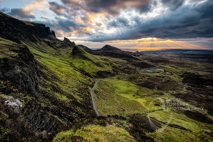 The Quiraing, Isle of Skye, Scotland. An example of Landscape, Architecture, Travel and Tourism Photography, using dramatic lighting and striking composition by Nigel Forster ABIPP. Commission Nigel Forster ABIPP to capture your business, event, attraction or location with dramatic use of light and striking composition.