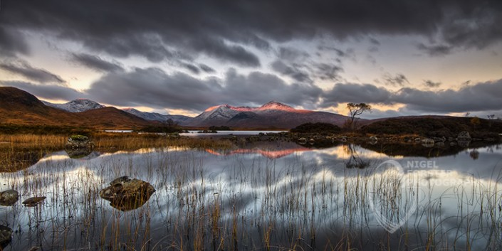 Loch Nah Achlaise, Rannoch Moor, Glencoe, Scotland, UK. An example of Landscape, Architecture, Travel and Tourism Photography, using dramatic lighting and striking composition by Nigel Forster ABIPP. Commission Nigel Forster ABIPP to capture your business, event, attraction or location with dramatic use of light and striking composition.