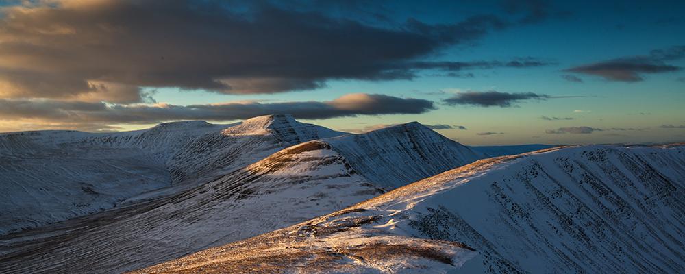 Pen y Fan winter landscape, Brecon Beacons National Park, Wales, UK